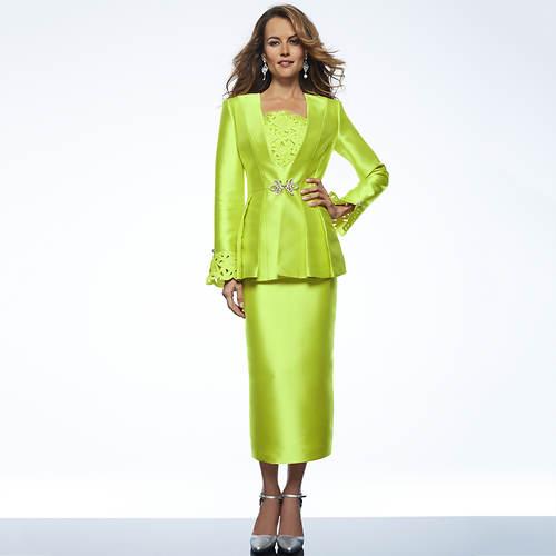Three-Piece Cutout Skirt Suit