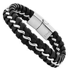 Stainless Steel Black Leather Bracelet (Men's)