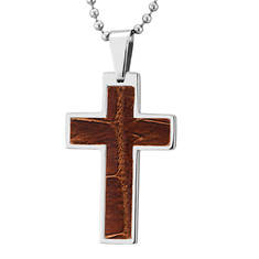 Stainless Steel Leather Cross Necklace (Men's)