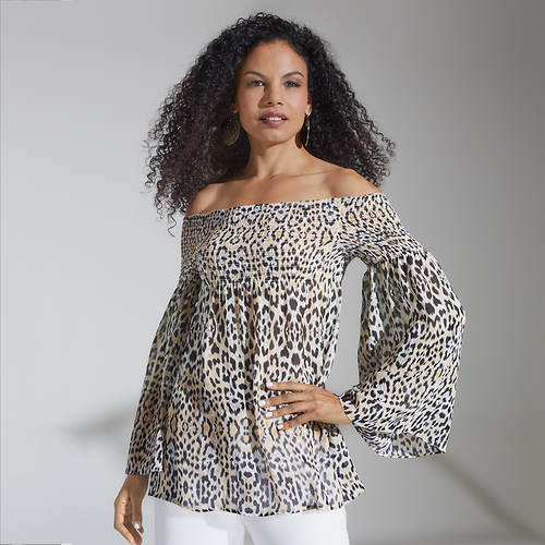Smocked Leopard Babydoll Top