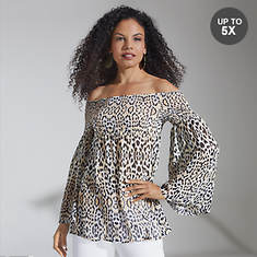 Smocked Leopard Baby Doll Top