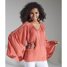 Lace Shoulder Bell-Sleeve Blouse