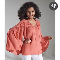 Lace Shoulder Bell-Sleeve Blouse