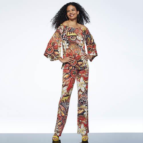 Off-Shoulder Floral Pant Set