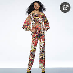 Off-Shoulder Floral Pant Set