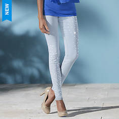 Asymmetrical Stud-Embellished Jean