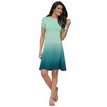 Ombré Cuff-Sleeve Dress