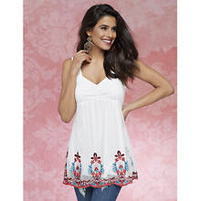 Embroidered Babydoll Tank