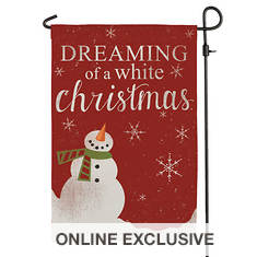 White Christmas Garden Flag