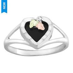 Black Hills Gold on Sterling Silver Black Onyx Heart Ring (Women's)