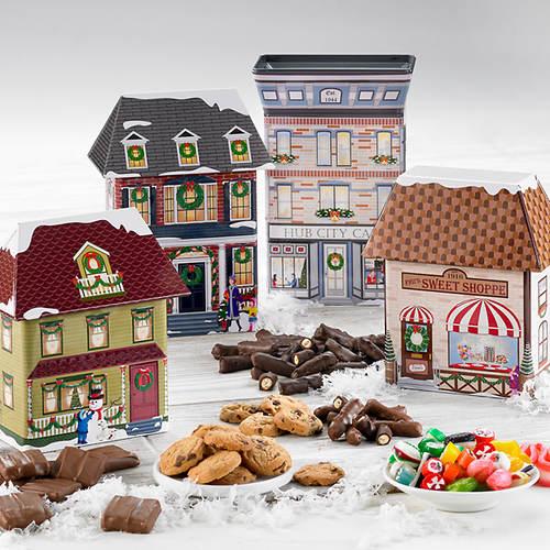 Hub City Collectible Christmas Village Tins & Treats - All 4 Village Tins