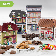 Hub City Collectible Christmas Village Tins & Treats - All 4 Village Tins