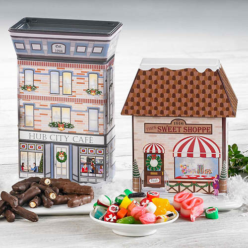 Hub City Collectible Christmas Village Tins & Treats - Candy Shoppe & Cafe