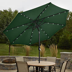 9' Solar LED Lighted Patio Umbrella