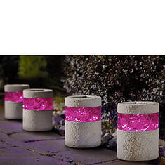 Set of 4 Red Stone Solar Lights