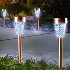 Set of 4 Metal-Finish Solar Lights