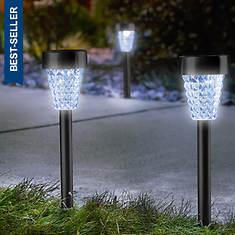 Set of 4 Metal-Finish Solar Lights