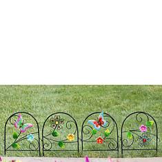 Floral Scroll Metal Fence Set