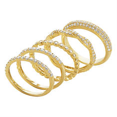 5-Piece 14K Gold-Plated Sterling Silver/CZ Ring Set