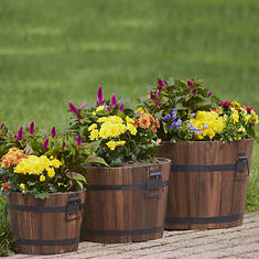 Set Of 3 Wooden Barrel Planters