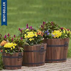 Set Of 3 Wooden Barrel Planters