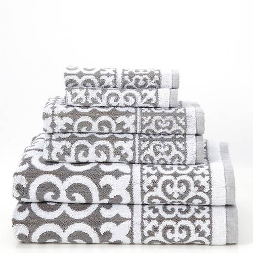 Arabesque Jacquard 6-Piece Towel Set