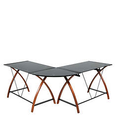 L-Shaped Glass and Wood Desk