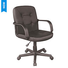 Black Polyurethane Mid-Back Chair