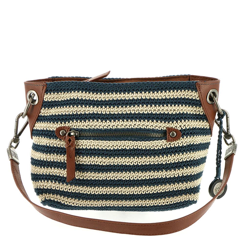 The Sak Crochet Indio Demi Shoulder Bag Navyeggshellstripe