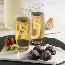 Personalized Champagne Flutes & Truffles