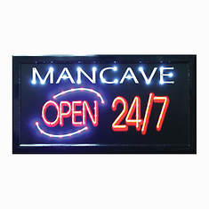 Man Cave Open 24/7 LED Sign
