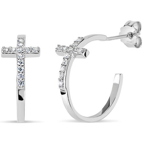 CZ Cross Post Hoop Earrings