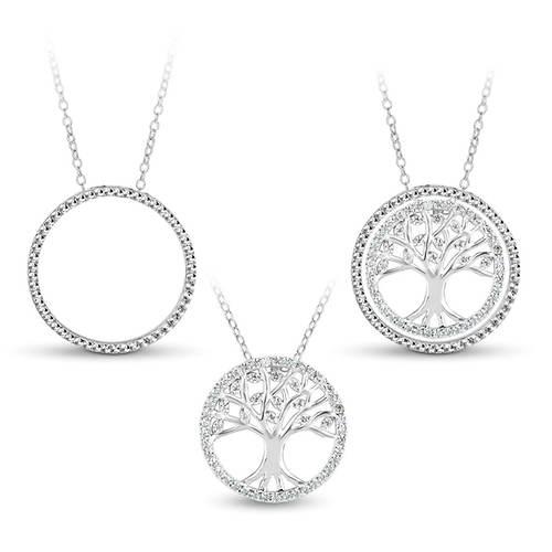 2-Pc. CZ Circle Tree Necklace