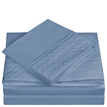 Quilted-Hem Microfiber Sheet Set