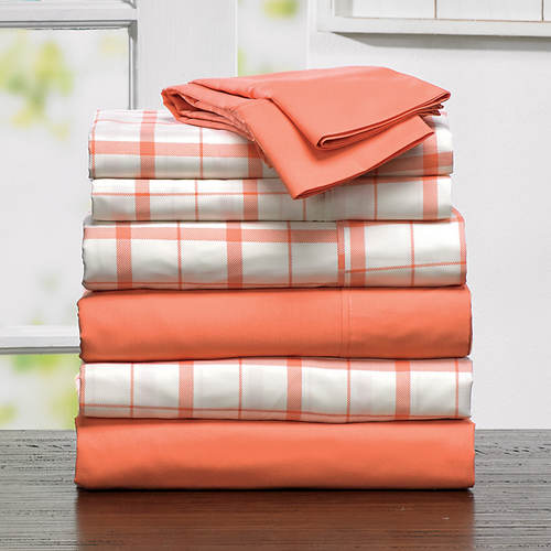 2-Pack Plaid/Solid Sheet Sets