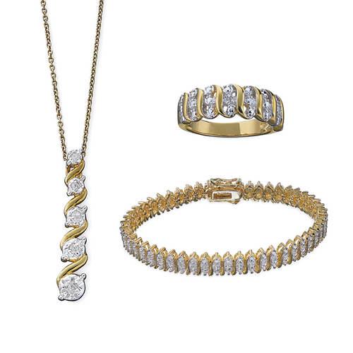 Diamond Accent Pendant Bracelet & Ring Set