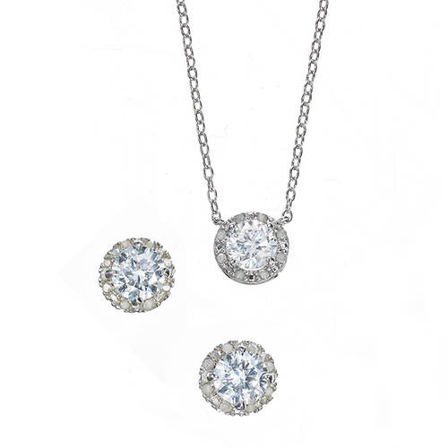 Diamond White Sapphire Earring and Necklace Set