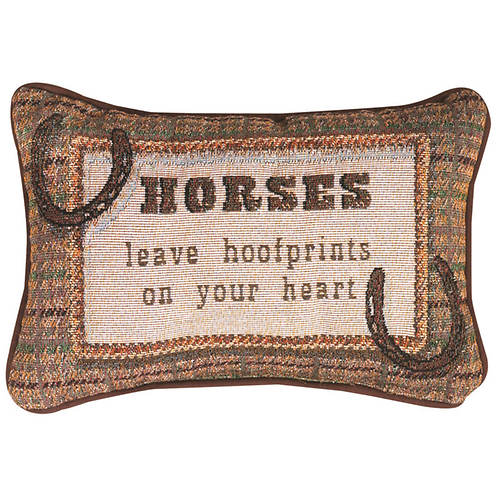 Word Pillow-Horses Leave Hoofprints on Your Heart