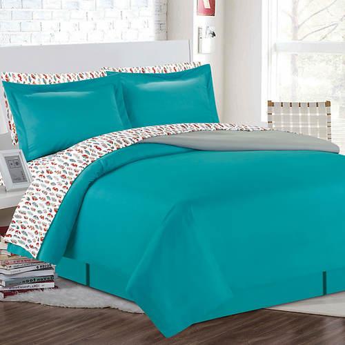 Reversible Comforter with Pattern Sheet Set