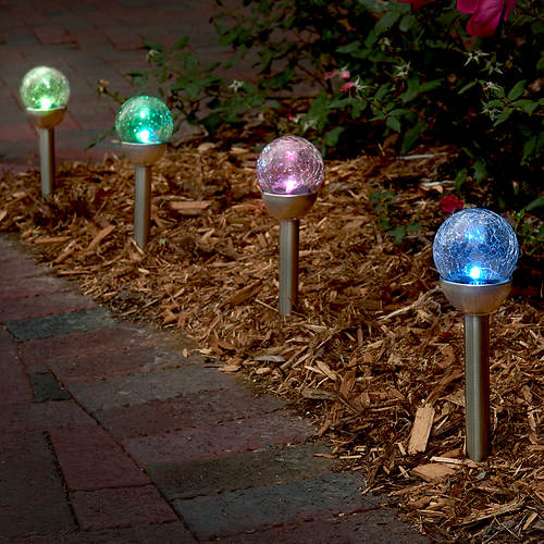 Set of 4 Solar Color Changing Lights with Stakes