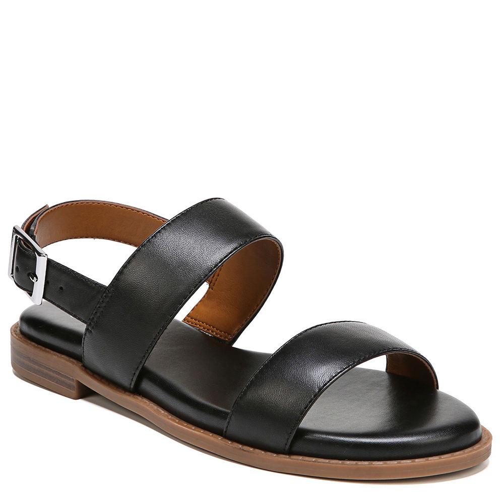 78f265e01575 Franco Sarto Women s Velocity Flat Sandal 8 M Black Butter Nappa ...