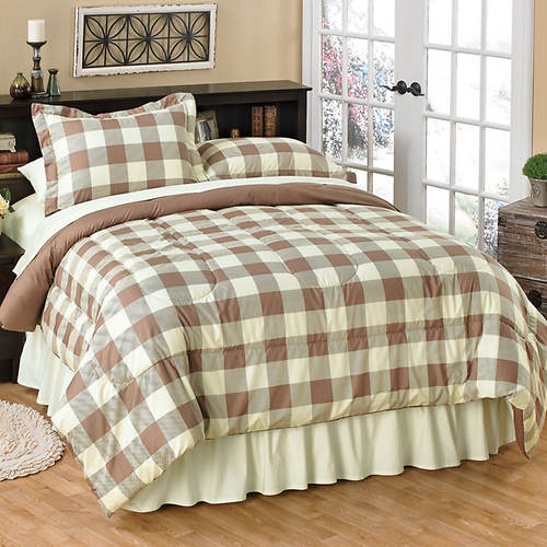 Reversible Buffalo Check Comforter Set with Bonus Throw
