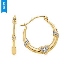 14K Yellow/White Gold Amour Hoop Earrings