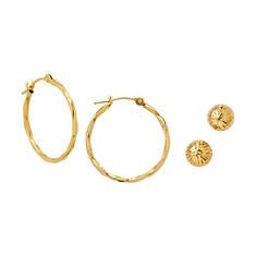 14K Gold Hoop & Ball Earring Set
