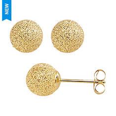 14K Gold 6MM Textured Ball Stud Earrings