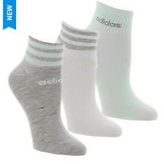 adidas Women's 3-Stripe 3-Pack Shortie Socks