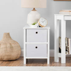 Foldable 2 Drawer Night Stand