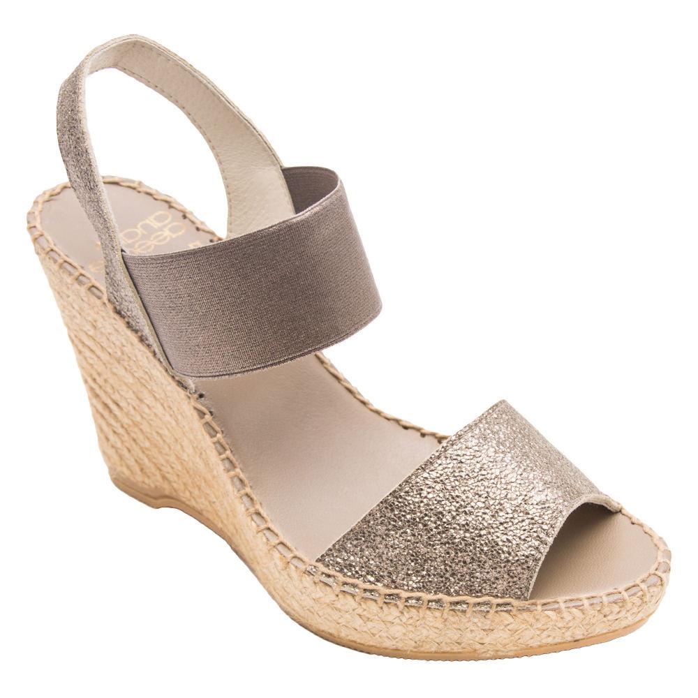 60s Shoes, Boots | 70s Shoes, Platforms, Boots Andre Assous Charlee Womens Gold Sandal 8 M $195.95 AT vintagedancer.com