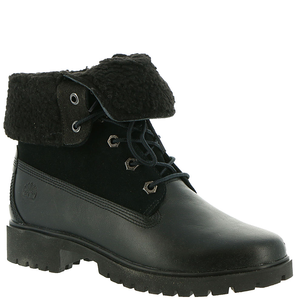 1950s Style Clothing & Fashion Timberland Jayne Teddy Fleece Fold Down Womens Black Boot 6.5 M $159.95 AT vintagedancer.com