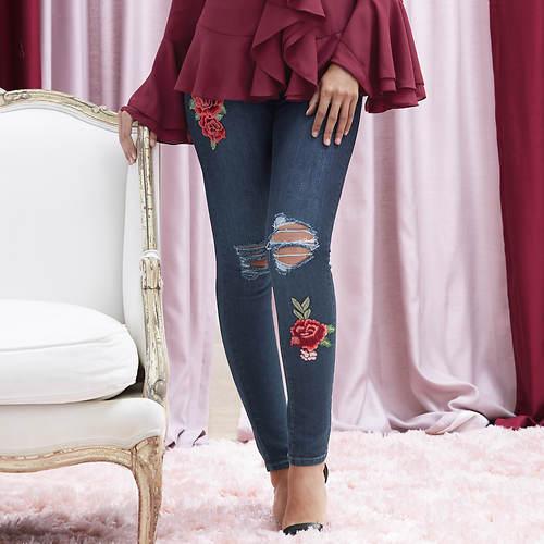 Destructed Floral Patch Skinny Jeans